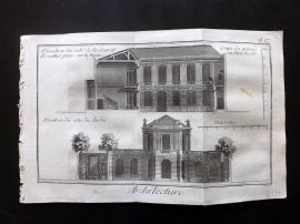 Diderot 1780's Antique Print. Architecture 27 Facade